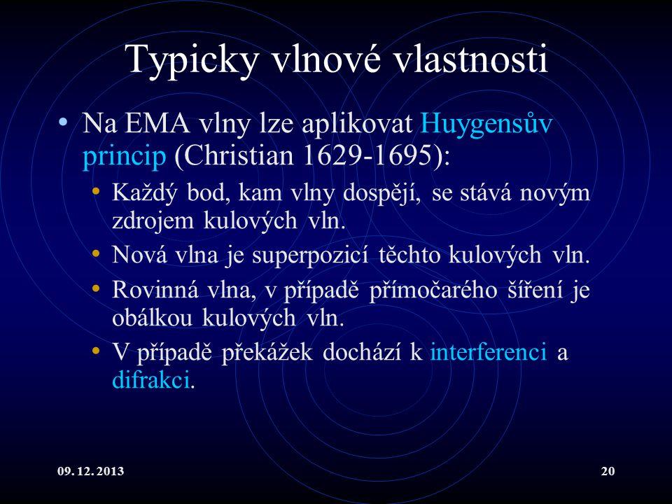 09. 12. 201320 Typicky vlnové vlastnosti Na EMA vlny lze aplikovat Huygensův princip (Christian 1629-1695): Každý bod, kam vlny dospějí, se stává nový