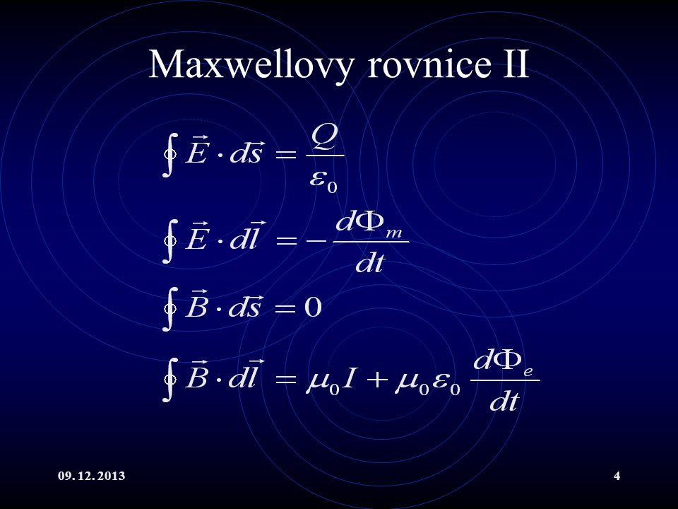 09. 12. 20134 Maxwellovy rovnice II