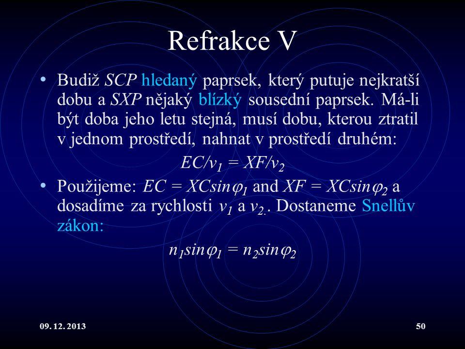 09. 12. 201350 Refrakce V Budiž SCP hledaný paprsek, který putuje nejkratší dobu a SXP nějaký blízký sousední paprsek. Má-li být doba jeho letu stejná
