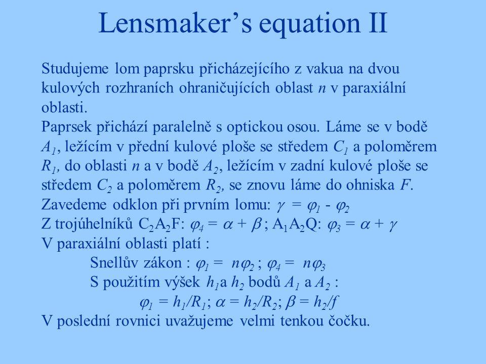 Lensmaker's equation II Studujeme lom paprsku přicházejícího z vakua na dvou kulových rozhraních ohraničujících oblast n v paraxiální oblasti. Paprsek