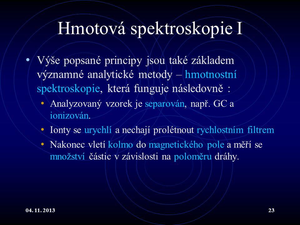 04. 11. 201323 Hmotová spektroskopie I Výše popsané principy jsou také základem významné analytické metody – hmotnostní spektroskopie, která funguje n