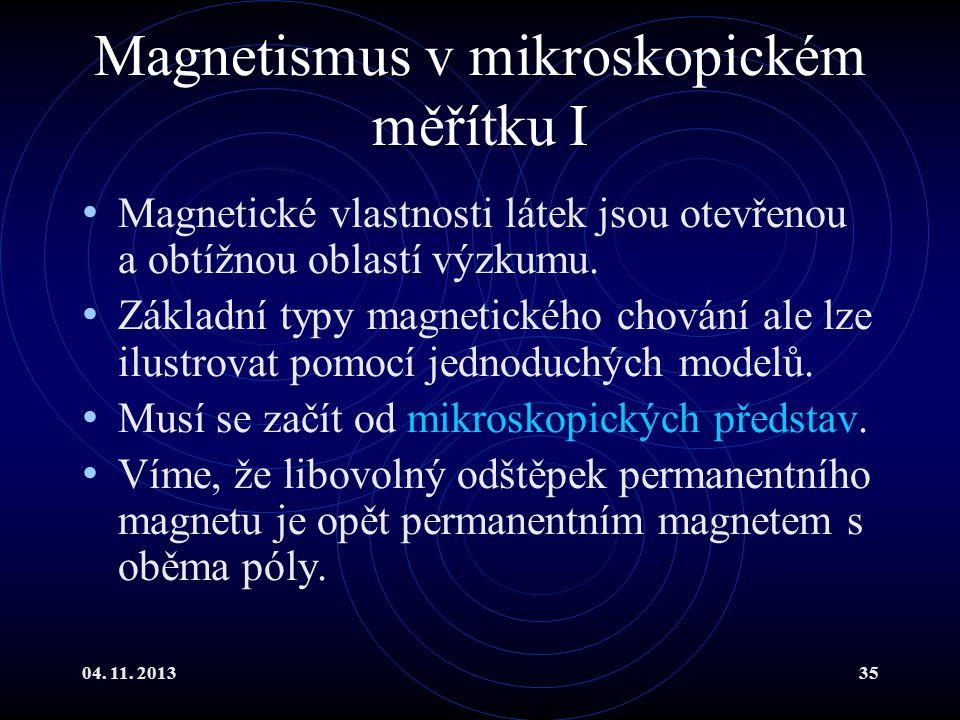 04. 11. 201335 Magnetismus v mikroskopickém měřítku I Magnetické vlastnosti látek jsou otevřenou a obtížnou oblastí výzkumu. Základní typy magnetickéh