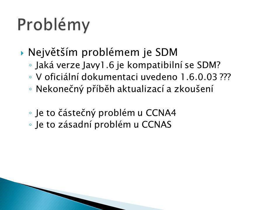  Největším problémem je SDM ◦ Jaká verze Javy1.6 je kompatibilní se SDM? ◦ V oficiální dokumentaci uvedeno 1.6.0.03 ??? ◦ Nekonečný příběh aktualizac