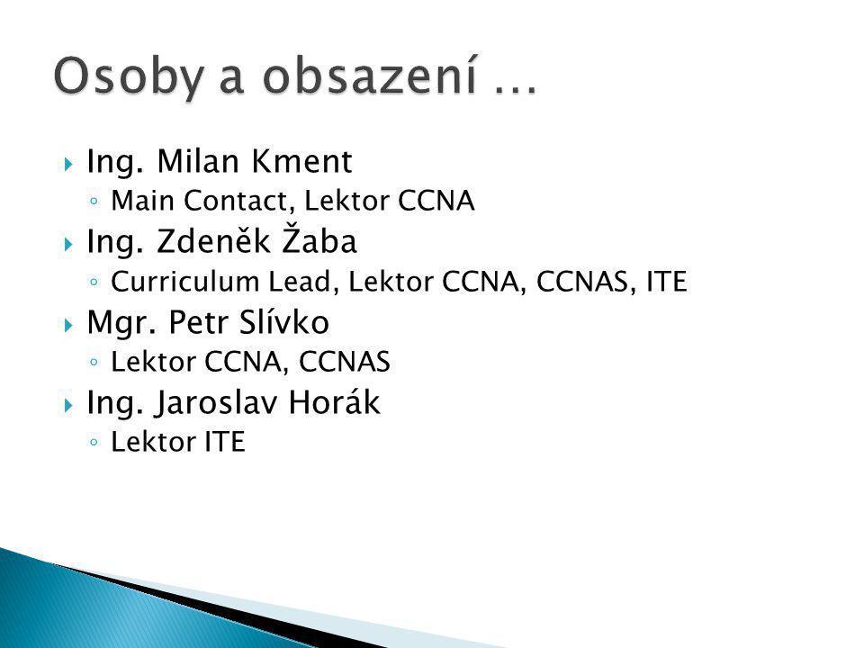  Ing. Milan Kment ◦ Main Contact, Lektor CCNA  Ing. Zdeněk Žaba ◦ Curriculum Lead, Lektor CCNA, CCNAS, ITE  Mgr. Petr Slívko ◦ Lektor CCNA, CCNAS 