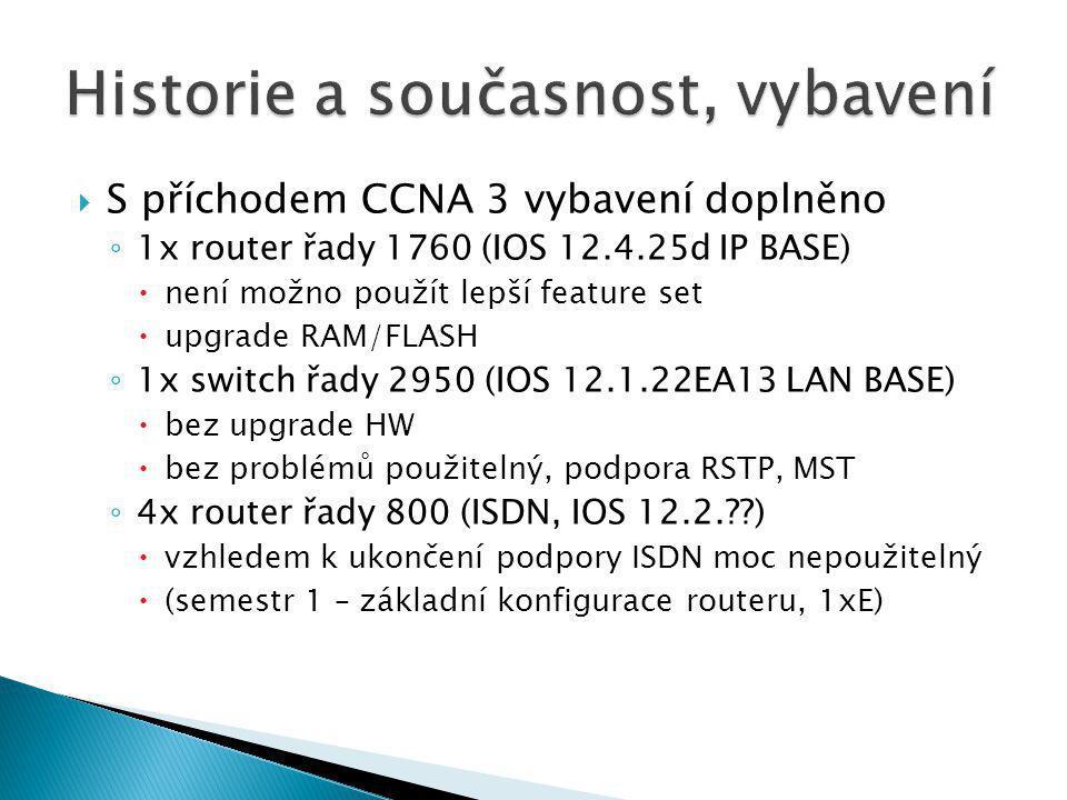  S příchodem CCNA 3 vybavení doplněno ◦ 1x router řady 1760 (IOS 12.4.25d IP BASE)  není možno použít lepší feature set  upgrade RAM/FLASH ◦ 1x swi