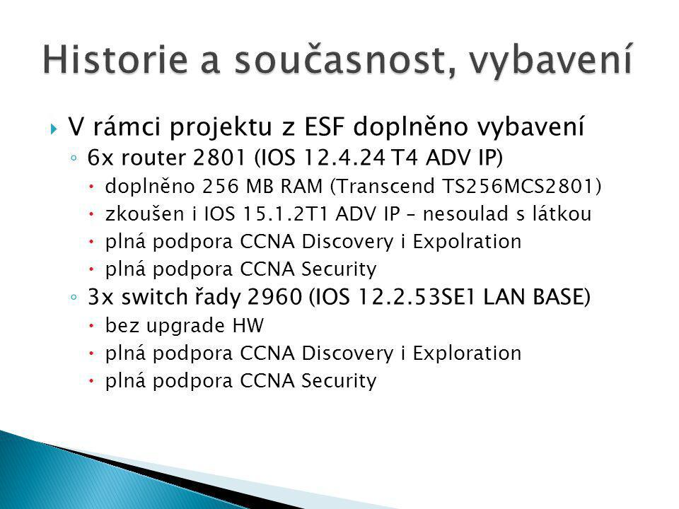  V rámci projektu z ESF doplněno vybavení ◦ 6x router 2801 (IOS 12.4.24 T4 ADV IP)  doplněno 256 MB RAM (Transcend TS256MCS2801)  zkoušen i IOS 15.1.2T1 ADV IP – nesoulad s látkou  plná podpora CCNA Discovery i Expolration  plná podpora CCNA Security ◦ 3x switch řady 2960 (IOS 12.2.53SE1 LAN BASE)  bez upgrade HW  plná podpora CCNA Discovery i Exploration  plná podpora CCNA Security