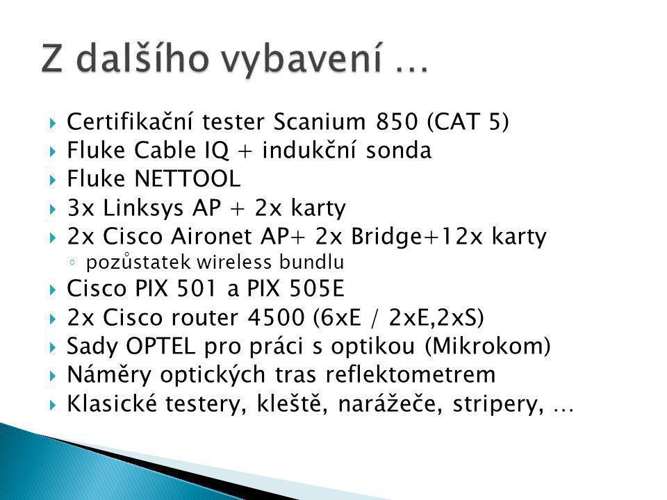  Certifikační tester Scanium 850 (CAT 5)  Fluke Cable IQ + indukční sonda  Fluke NETTOOL  3x Linksys AP + 2x karty  2x Cisco Aironet AP+ 2x Bridge+12x karty ◦ pozůstatek wireless bundlu  Cisco PIX 501 a PIX 505E  2x Cisco router 4500 (6xE / 2xE,2xS)  Sady OPTEL pro práci s optikou (Mikrokom)  Náměry optických tras reflektometrem  Klasické testery, kleště, narážeče, stripery, …