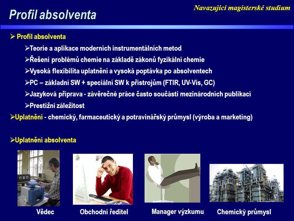 Profil absolventa Profil absolventa  Profil absolventa  Teorie a aplikace moderních instrumentálních metod  Řešení problémů chemie na základě zákon