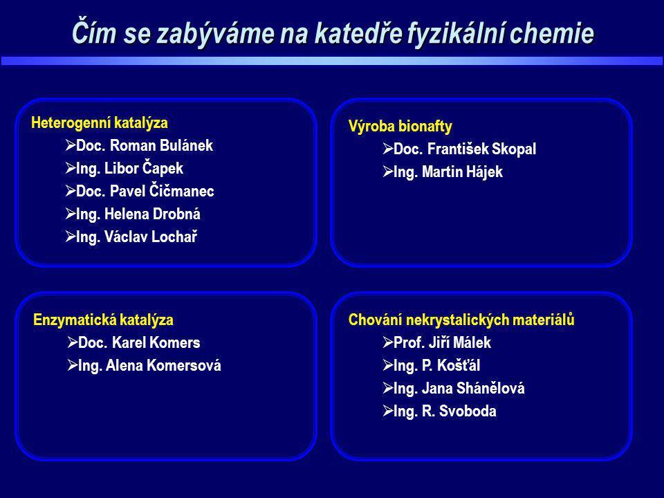 Čím se zabýváme na katedře fyzikální chemie Chování nekrystalických materiálů  Prof. Jiří Málek  Ing. P. Košťál  Ing. Jana Shánělová  Ing. R. Svob