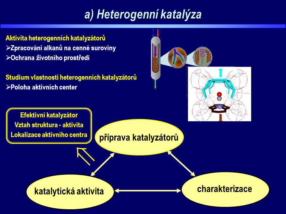 a) Heterogenní katalýza Aktivita heterogenních katalyzátorů  Zpracování alkanů na cenné suroviny  Ochrana životního prostředí Studium vlastností het