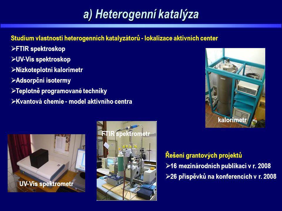 a) Heterogenní katalýza UV-Vis spektrometr FTIR spektrometr kalorimetr Studium vlastností heterogenních katalyzátorů - lokalizace aktivních center  F