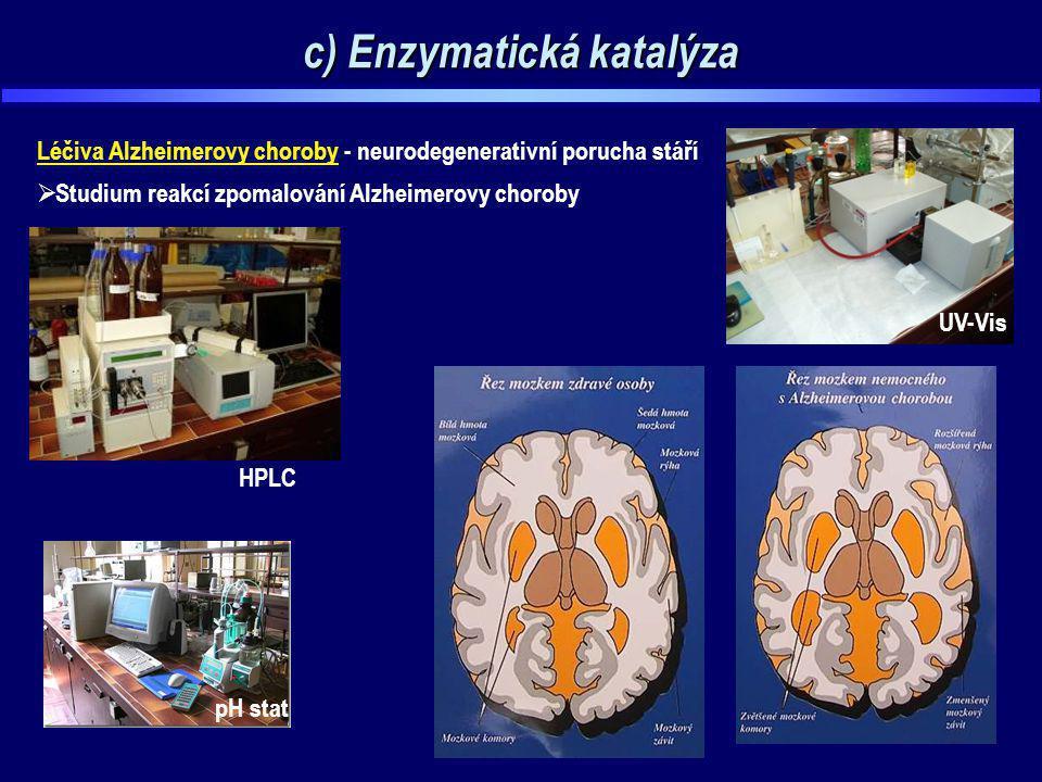 c) Enzymatická katalýza Léčiva Alzheimerovy choroby - neurodegenerativní porucha stáří  Studium reakcí zpomalování Alzheimerovy choroby pH stat HPLC
