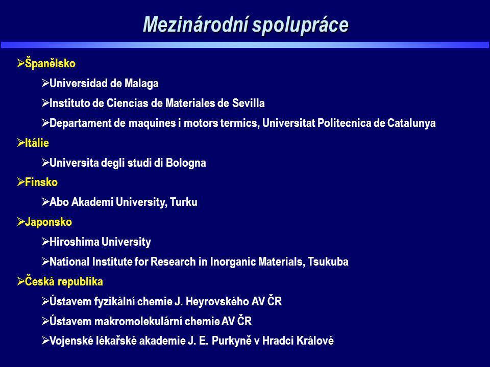 Mezinárodní spolupráce  Španělsko  Universidad de Malaga  Instituto de Ciencias de Materiales de Sevilla  Departament de maquines i motors termics