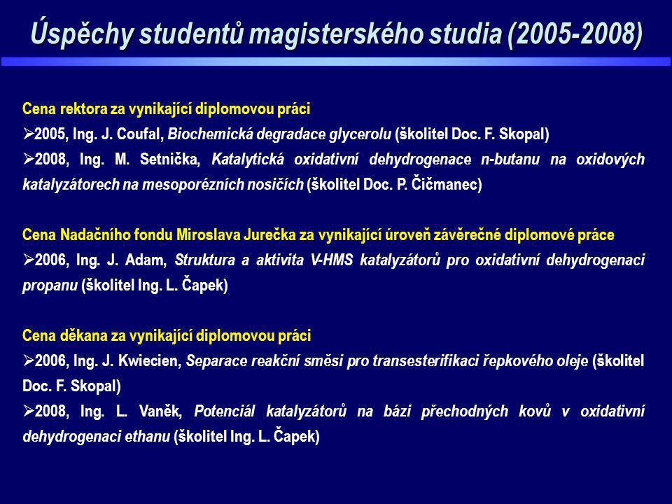 Úspěchy studentů magisterského studia (2005-2008) Cena rektora za vynikající diplomovou práci  2005, Ing. J. Coufal, Biochemická degradace glycerolu