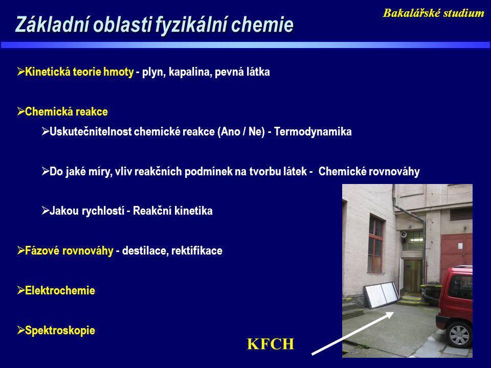 Základní oblasti fyzikální chemie Základní oblasti fyzikální chemie  Kinetická teorie hmoty - plyn, kapalina, pevná látka  Chemická reakce  Uskuteč