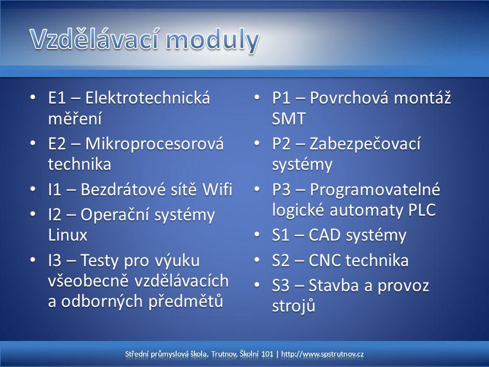 E1 – Elektrotechnická měření E1 – Elektrotechnická měření E2 – Mikroprocesorová technika E2 – Mikroprocesorová technika I1 – Bezdrátové sítě Wifi I1 –