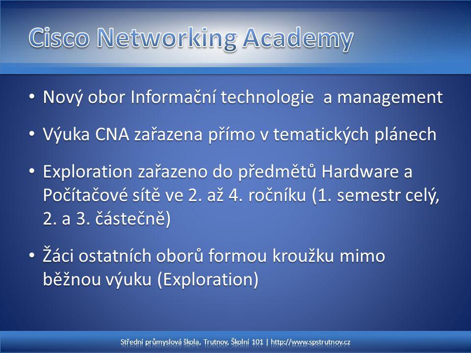 Nový obor Informační technologie a management Nový obor Informační technologie a management Výuka CNA zařazena přímo v tematických plánech Výuka CNA z