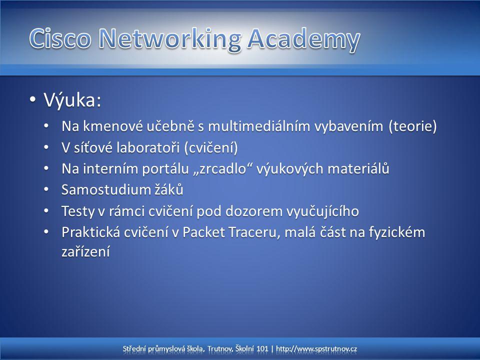 Výuka: Výuka: Na kmenové učebně s multimediálním vybavením (teorie) Na kmenové učebně s multimediálním vybavením (teorie) V síťové laboratoři (cvičení