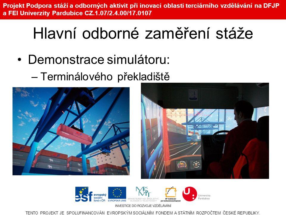 Projekt Podpora stáží a odborných aktivit při inovaci oblasti terciárního vzdělávání na DFJP a FEI Univerzity Pardubice CZ.1.07/2.4.00/17.0107 Demonstrace simulátoru: –Lidského chování a kooperace záchranných složek při zemětřesení TENTO PROJEKT JE SPOLUFINANCOVÁN EVROPSKÝM SOCIÁLNÍM FONDEM A STÁTNÍM ROZPOČTEM ČESKÉ REPUBLIKY.