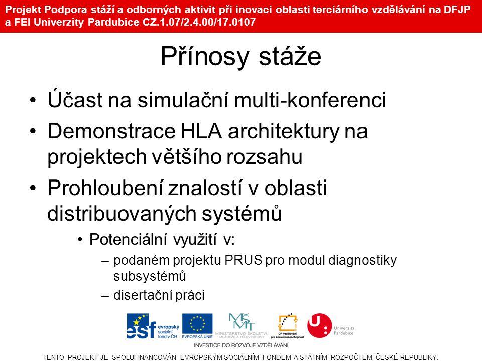 Projekt Podpora stáží a odborných aktivit při inovaci oblasti terciárního vzdělávání na DFJP a FEI Univerzity Pardubice CZ.1.07/2.4.00/17.0107 Účast na simulační multi-konferenci Demonstrace HLA architektury na projektech většího rozsahu Prohloubení znalostí v oblasti distribuovaných systémů Potenciální využití v: –podaném projektu PRUS pro modul diagnostiky subsystémů –disertační práci TENTO PROJEKT JE SPOLUFINANCOVÁN EVROPSKÝM SOCIÁLNÍM FONDEM A STÁTNÍM ROZPOČTEM ČESKÉ REPUBLIKY.