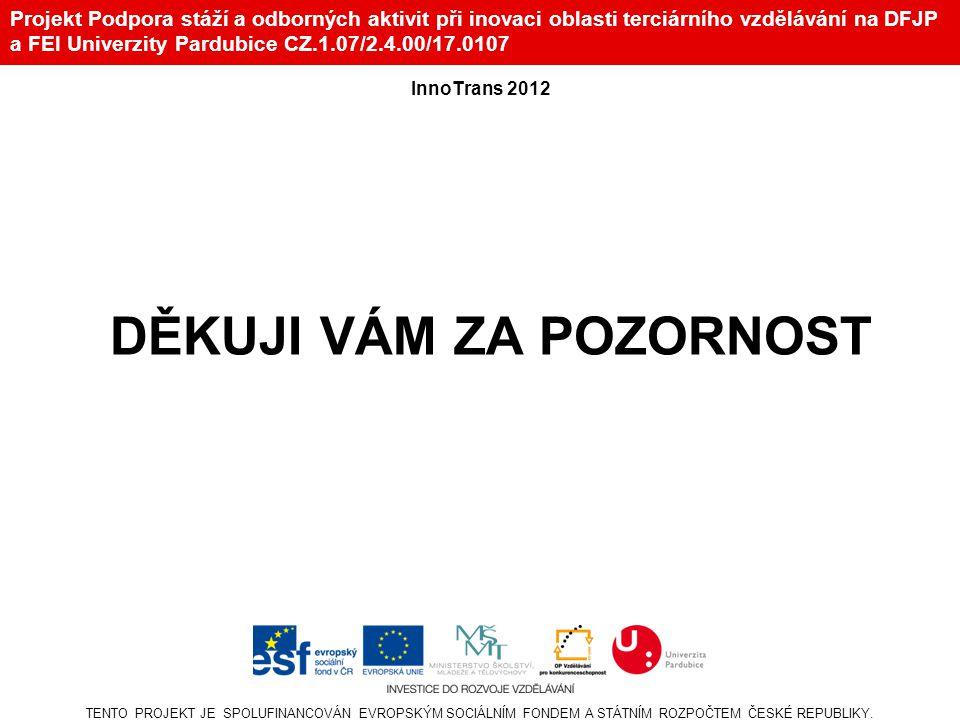 Projekt Podpora stáží a odborných aktivit při inovaci oblasti terciárního vzdělávání na DFJP a FEI Univerzity Pardubice CZ.1.07/2.4.00/17.0107 TENTO P