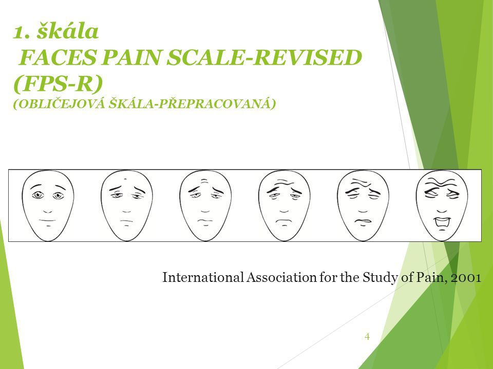 1. škála FACES PAIN SCALE-REVISED (FPS-R) (OBLIČEJOVÁ ŠKÁLA-PŘEPRACOVANÁ) 4 International Association for the Study of Pain, 2001