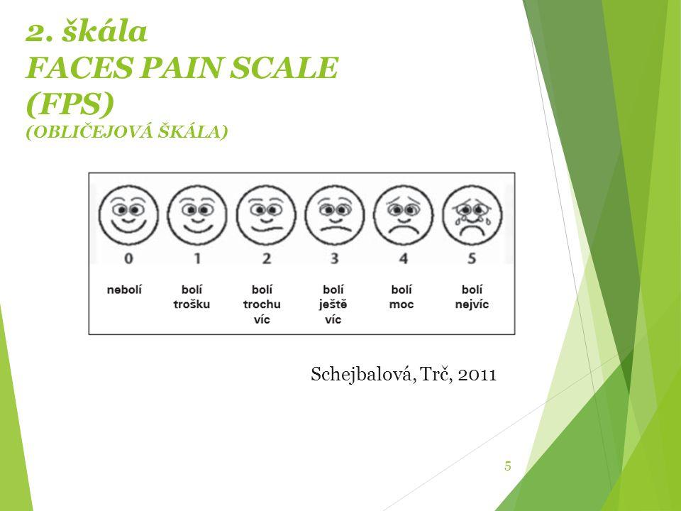 2. škála FACES PAIN SCALE (FPS) (OBLIČEJOVÁ ŠKÁLA) 5 Schejbalová, Trč, 2011