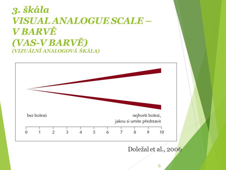 3. škála VISUAL ANALOGUE SCALE – V BARVĚ (VAS-V BARVĚ) (VIZUÁLNÍ ANALOGOVÁ ŠKÁLA) 6 Doležal et al., 2006