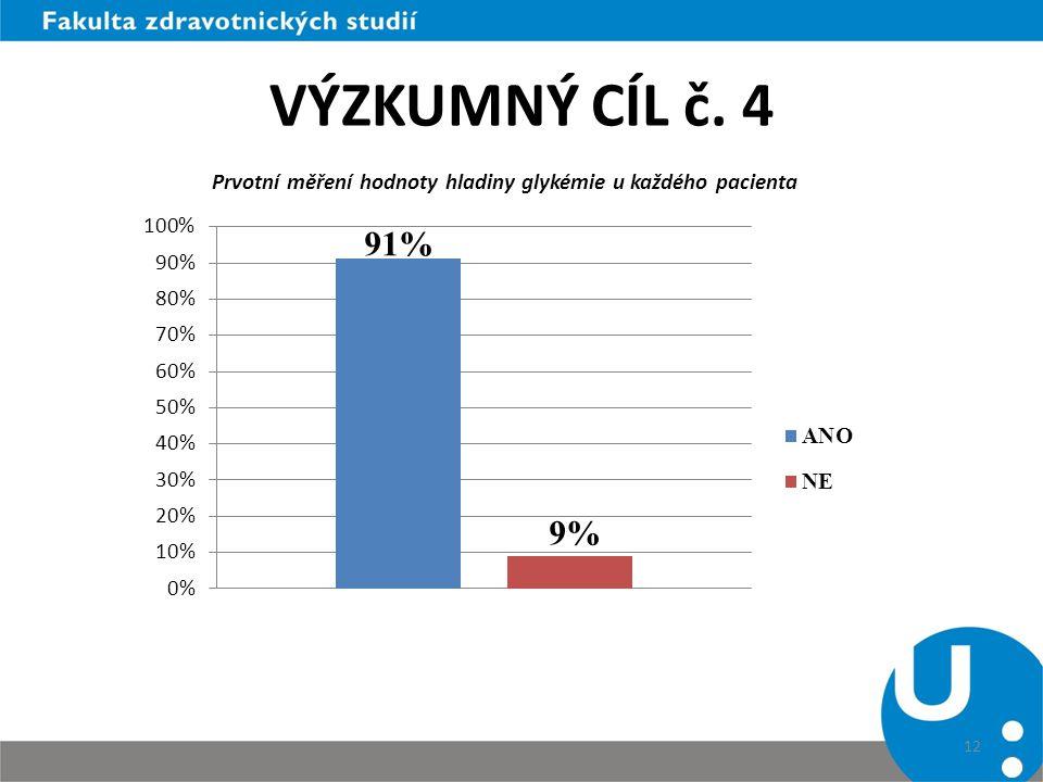 VÝZKUMNÝ CÍL č. 4 12 Prvotní měření hodnoty hladiny glykémie u každého pacienta