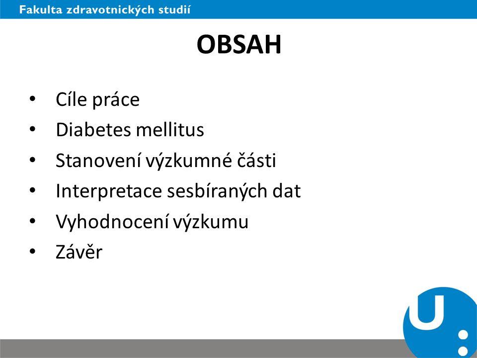 OBSAH Cíle práce Diabetes mellitus Stanovení výzkumné části Interpretace sesbíraných dat Vyhodnocení výzkumu Závěr