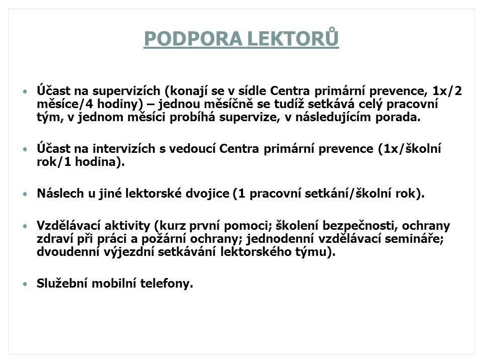 PODPORA LEKTORŮ Účast na supervizích (konají se v sídle Centra primární prevence, 1x/2 měsíce/4 hodiny) – jednou měsíčně se tudíž setkává celý pracovn