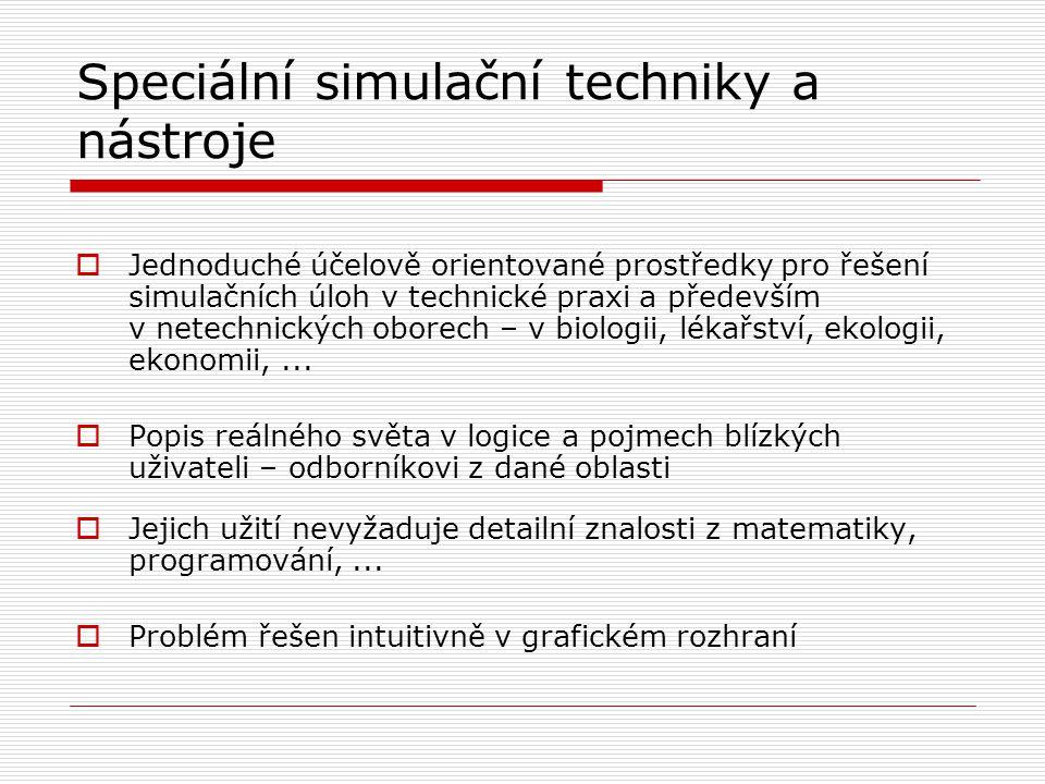 Speciální simulační techniky a nástroje  Jednoduché účelově orientované prostředky pro řešení simulačních úloh v technické praxi a především v netech