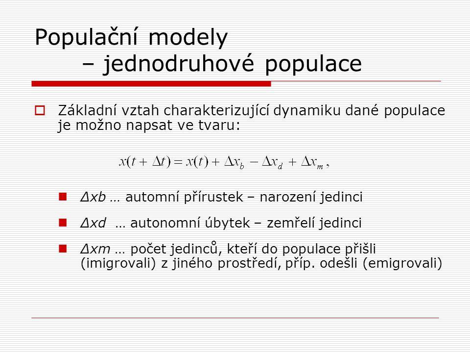 Populační modely – jednodruhové populace  Základní vztah charakterizující dynamiku dané populace je možno napsat ve tvaru: Δxb … automní přírustek –