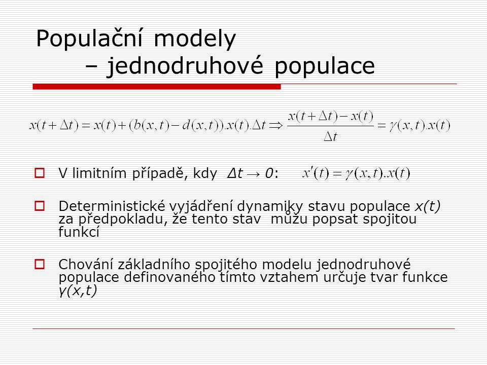 Populační modely – jednodruhové populace  V limitním případě, kdy Δt → 0:  Deterministické vyjádření dynamiky stavu populace x(t) za předpokladu, že