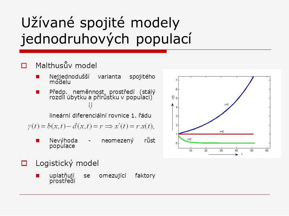 Užívané spojité modely jednodruhových populací  Malthusův model Nejjednodušší varianta spojitého modelu Předp. neměnnost prostředí (stálý rozdíl úbyt