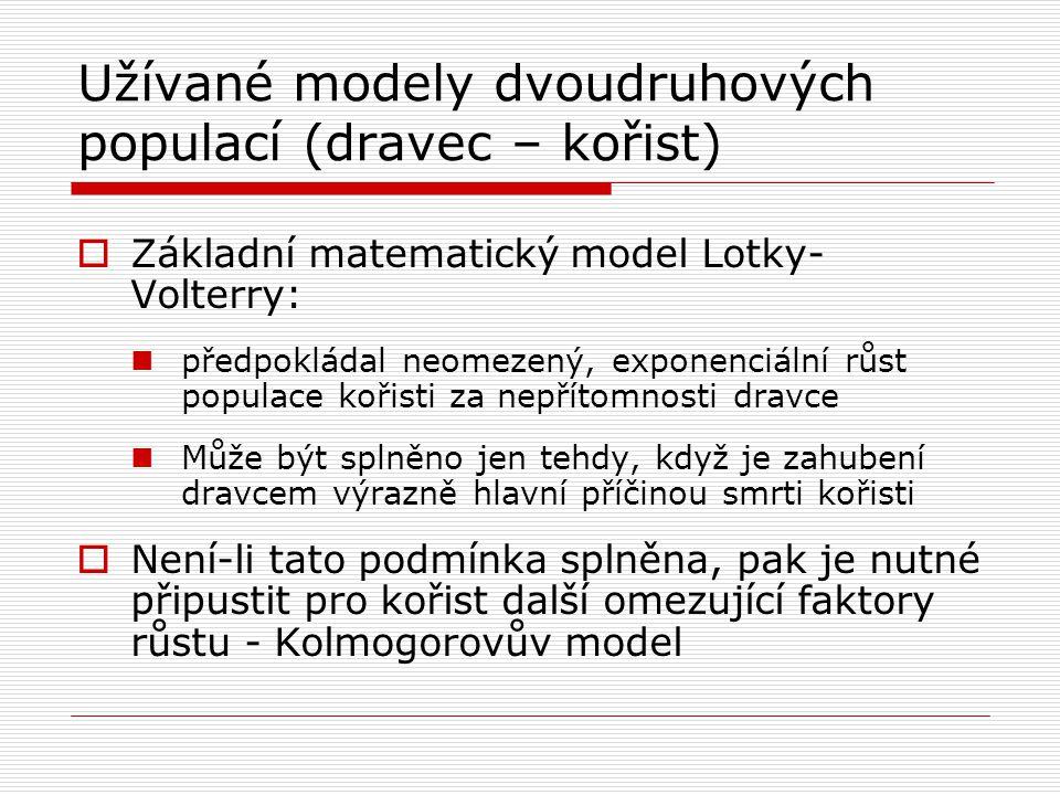 Užívané modely dvoudruhových populací (dravec – kořist)  Základní matematický model Lotky- Volterry: předpokládal neomezený, exponenciální růst popul