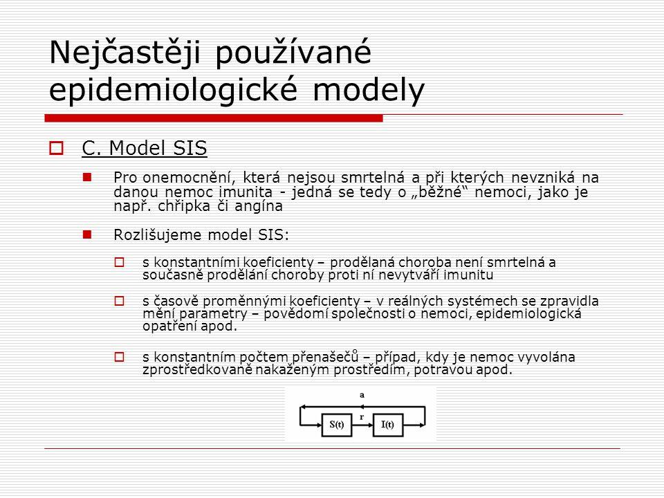 Nejčastěji používané epidemiologické modely  C. Model SIS Pro onemocnění, která nejsou smrtelná a při kterých nevzniká na danou nemoc imunita - jedná