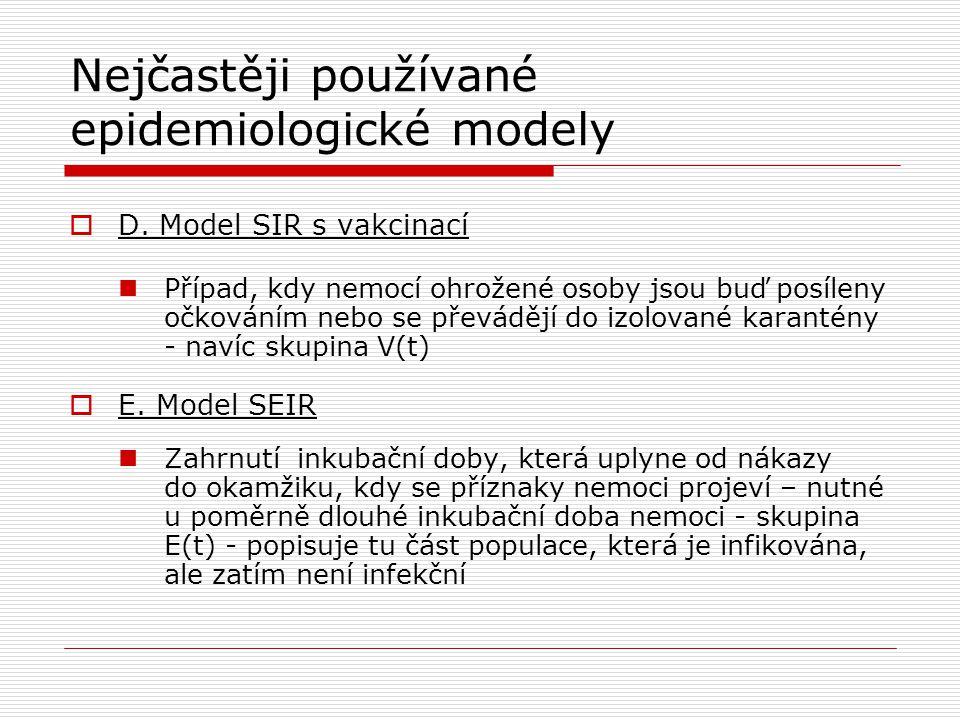 Nejčastěji používané epidemiologické modely  D. Model SIR s vakcinací Případ, kdy nemocí ohrožené osoby jsou buď posíleny očkováním nebo se převádějí