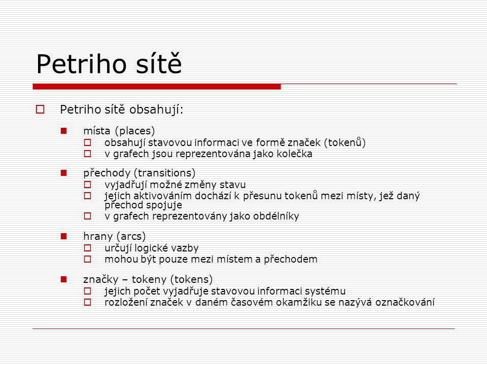 Petriho sítě  Petriho sítě obsahují: místa (places)  obsahují stavovou informaci ve formě značek (tokenů)  v grafech jsou reprezentována jako koleč