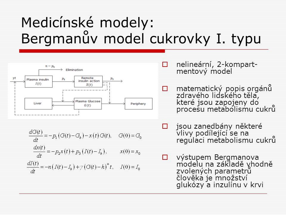 Medicínské modely: Bergmanův model cukrovky I. typu  nelineární, 2-kompart- mentový model  matematický popis orgánů zdravého lidského těla, které js