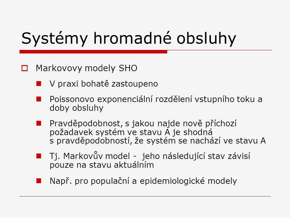 Systémy hromadné obsluhy  Markovovy modely SHO V praxi bohatě zastoupeno Poissonovo exponenciální rozdělení vstupního toku a doby obsluhy Pravděpodob