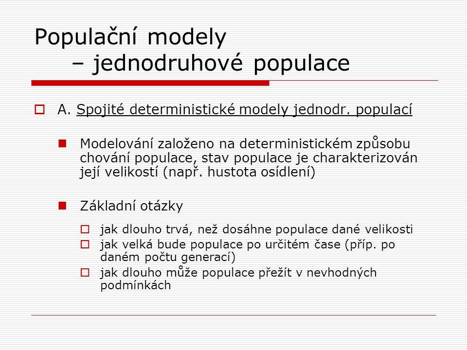 Populační modely – jednodruhové populace  A. Spojité deterministické modely jednodr. populací Modelování založeno na deterministickém způsobu chování
