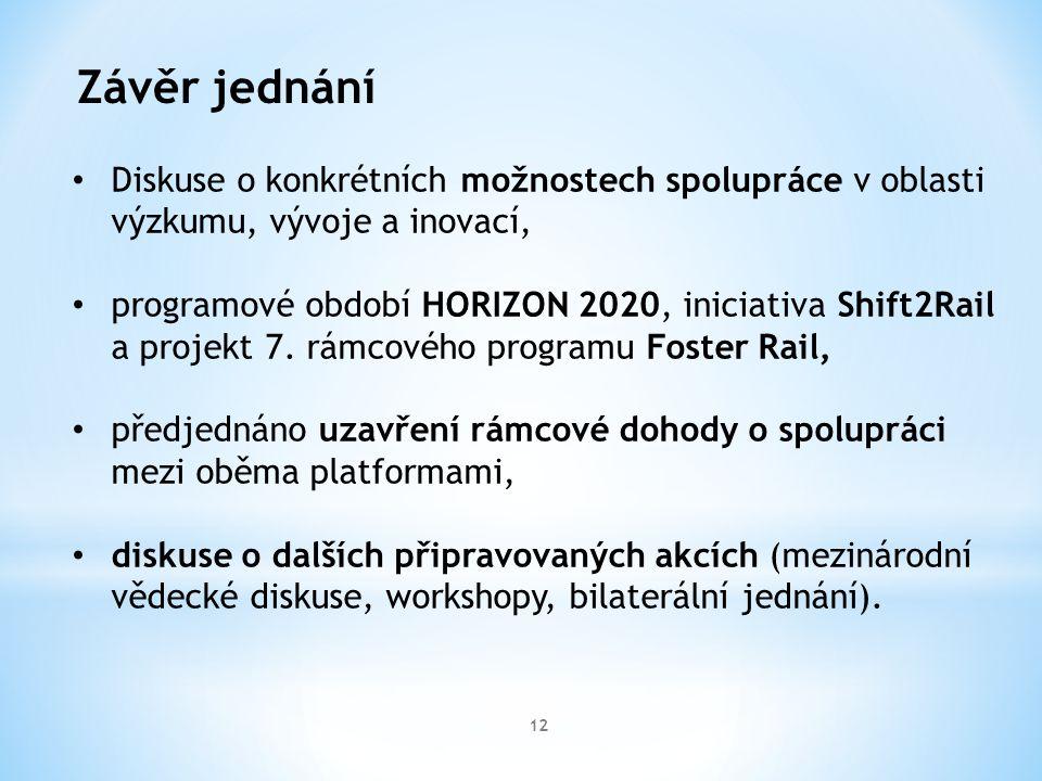 12 Závěr jednání Diskuse o konkrétních možnostech spolupráce v oblasti výzkumu, vývoje a inovací, programové období HORIZON 2020, iniciativa Shift2Rail a projekt 7.