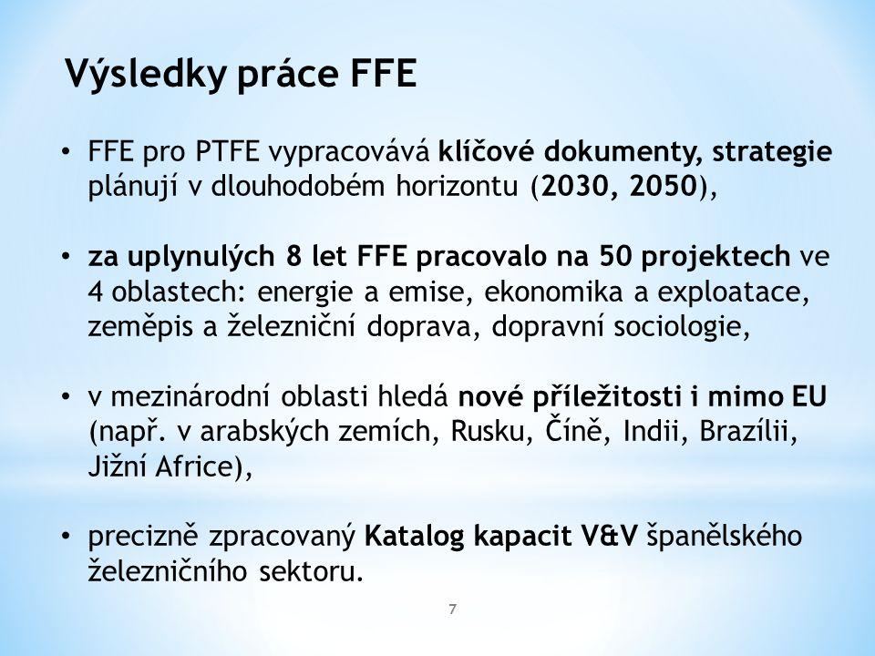 7 Výsledky práce FFE FFE pro PTFE vypracovává klíčové dokumenty, strategie plánují v dlouhodobém horizontu (2030, 2050), za uplynulých 8 let FFE pracovalo na 50 projektech ve 4 oblastech: energie a emise, ekonomika a exploatace, zeměpis a železniční doprava, dopravní sociologie, v mezinárodní oblasti hledá nové příležitosti i mimo EU (např.