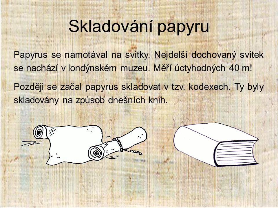 Skladování papyru Papyrus se namotával na svitky.