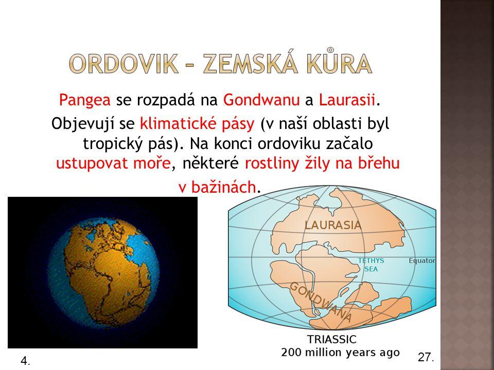 Pangea se rozpadá na Gondwanu a Laurasii.
