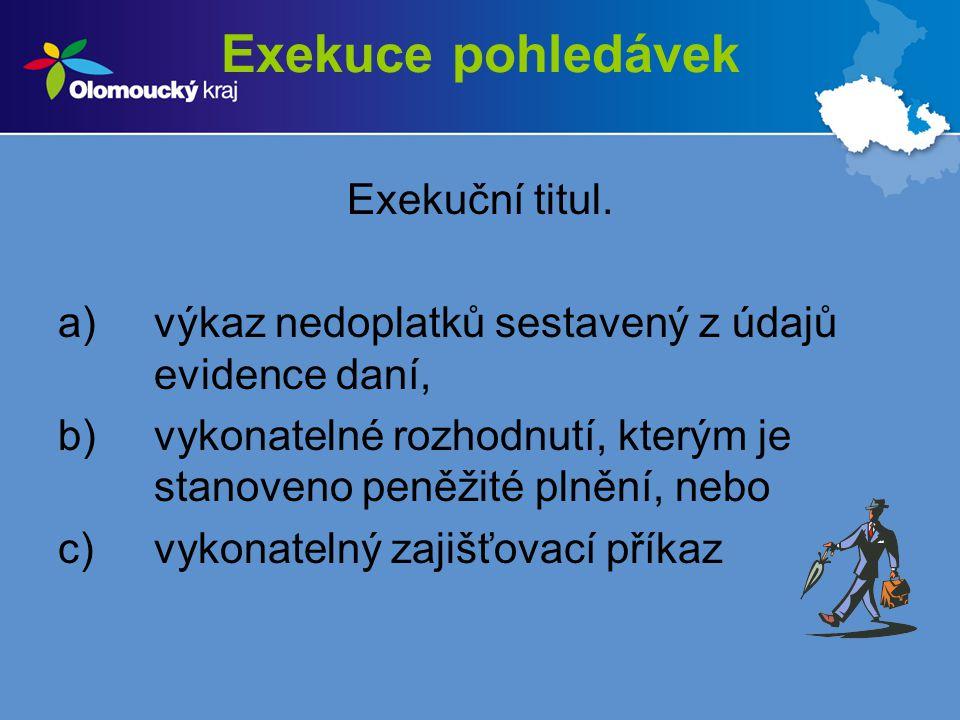 Exekuce pohledávek Exekuční titul. a)výkaz nedoplatků sestavený z údajů evidence daní, b)vykonatelné rozhodnutí, kterým je stanoveno peněžité plnění,
