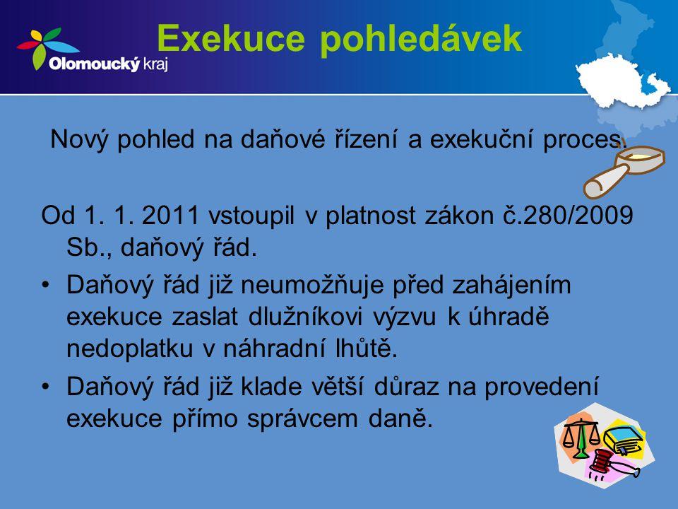 Exekuce pohledávek Nový pohled na daňové řízení a exekuční proces. Od 1. 1. 2011 vstoupil v platnost zákon č.280/2009 Sb., daňový řád. Daňový řád již