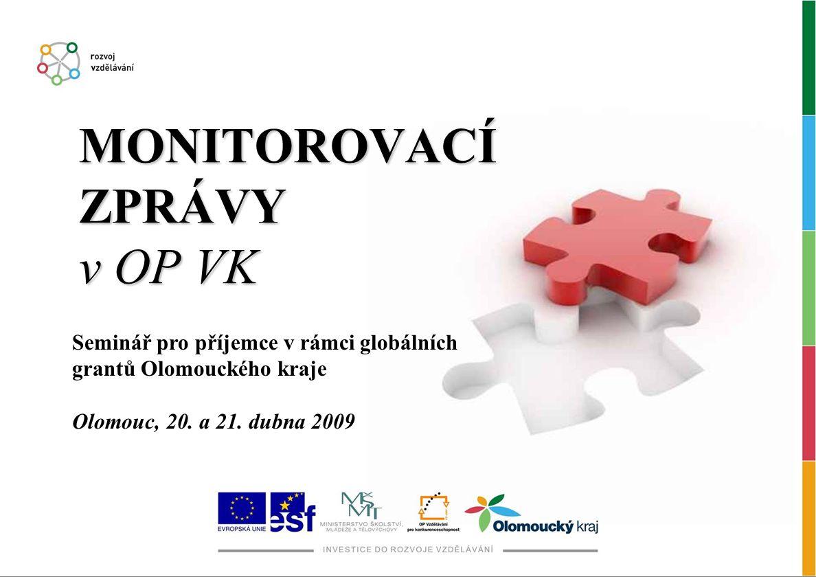 MONITOROVACÍ ZPRÁVY v OP VK Seminář pro příjemce v rámci globálních grantů Olomouckého kraje Olomouc, 20. a 21. dubna 2009