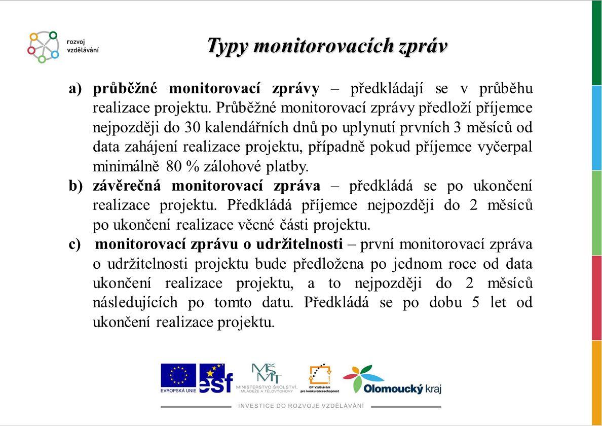 a)průběžné monitorovací zprávy – předkládají se v průběhu realizace projektu. Průběžné monitorovací zprávy předloží příjemce nejpozději do 30 kalendář
